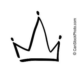 vecteur, grunge, dessiné, symbole, isolé, illustration, main, stylisé, coup, crown., noir, brosse, white., encre, brush., logo, design.