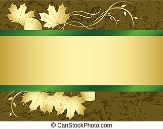 vecteur, grunge, feuilles automne, -, carte