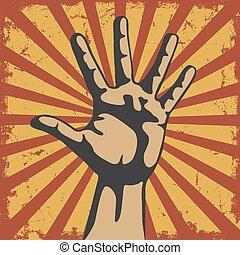 vecteur, grunge, geste, main
