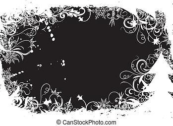 vecteur, grunge, hiver, illustration, fond, floral