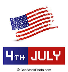 vecteur, grunge, symbole, -, drapeau américain, 4ème, sale,...