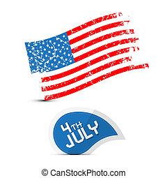 vecteur, grunge, symbole, -, drapeau américain, 4ème, sale, juillet