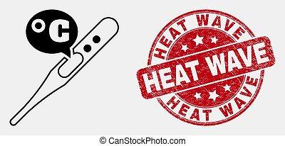 vecteur, grunge, thermomètre, coup, vague, chaleur, celsius, cachet, icône