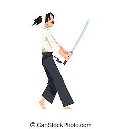 vecteur, guerrier, katana, japonaise, illustration, homme, ...