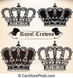 vecteur, héraldique, couronnes, collection, conception, roi