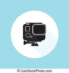 vecteur, héros, pro, illustration, gopro, appareil photo, conception, action, silhouette, sport, hd