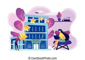 vecteur, hôtel, concept, conception, illustration.