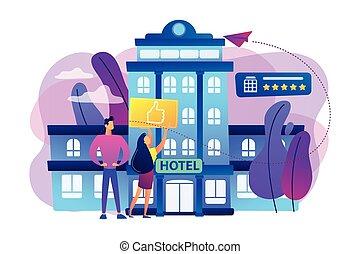 vecteur, hôtel, concept, style de vie, illustration.
