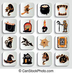 vecteur, halloween, icône