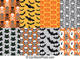 vecteur, halloween, seamless, motifs