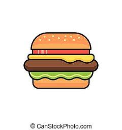vecteur, hamburger, icône, signe