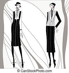 vecteur,  hand-drawn,  Deco,  art, Femmes
