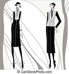 vecteur, hand-drawn, deco art, women.