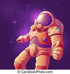 vecteur, haut, astronaute, projection, espace, pouces