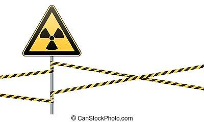 vecteur, hazards., radiation, bands., signe, poteau, ...