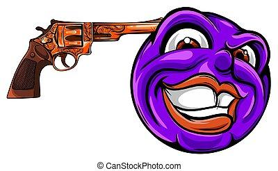 vecteur, headshot, suicide, emoticon, illustration, ...