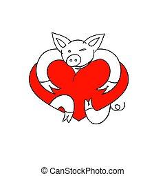 vecteur, heart., illustration., cochon