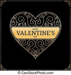 vecteur, heart., jour, illustration, valentines
