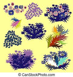 vecteur, herbariums., éléments, ensemble, pousse feuilles, conception