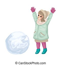 vecteur, heureux, confection, jeune fille, snowball., illustration