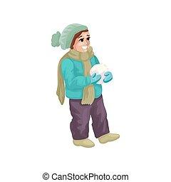 vecteur, heureux, confection, jeune, snowball., illustration, garçon