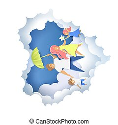 vecteur, heureux, style, famille, papier, art, illustration
