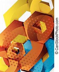 vecteur, hexagone, fond, 3d