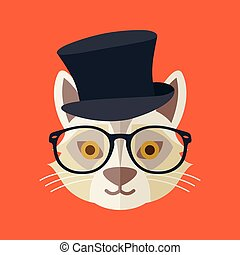 vecteur, hipster, illustration, chat