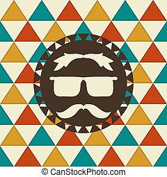 vecteur, hipster, modèle, étiquette, seamless