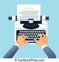 vecteur, histoire, concept, auteur, mains, écrivain, ou, écrire, livre, équipe, papier, copywriting, blog., article, typewriter., type, blogging