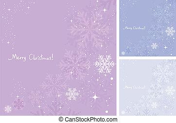 vecteur, hiver, fond, de, flocons neige