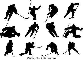 vecteur, hockey, glace