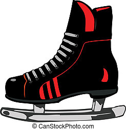 vecteur, hockey, illustration, chaussures