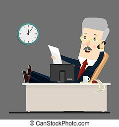 vecteur, homme affaires, fonctionnement, illustration, bureau, dessin animé, business, style., concept, plat, illustration