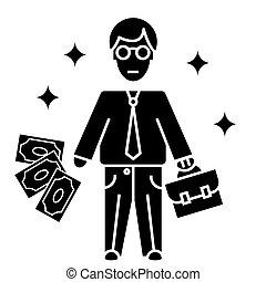 vecteur, homme affaires, fond, icône, isolé, signe, illustration