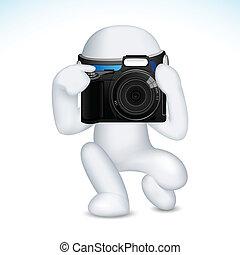 vecteur, homme appareil-photo, 3d