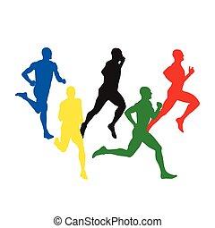 vecteur, hommes, ensemble, courant, coloré, runners., sport, silhouettes, individu, cinq, athlètes