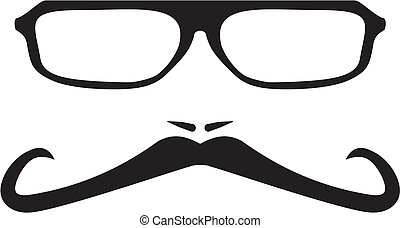 vecteur, hommes, moustache, long visage