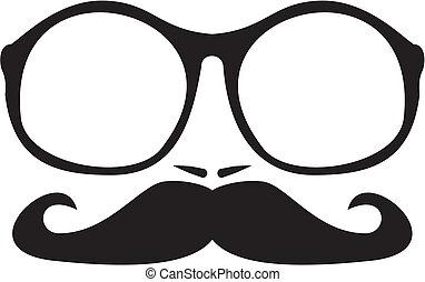 vecteur, hommes, nerd, moustache, figure