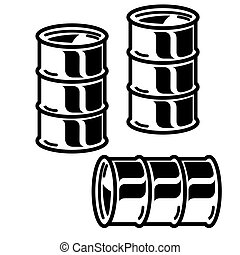 vecteur, huile, barils, blanc, silhouettes, arrière-plan., illustration., métal