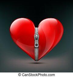 vecteur, humain, réaliste, zipper., coeur, icône, stockage, rouges, illu