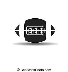 vecteur, icône, balle rugby, à, laçage, ombre