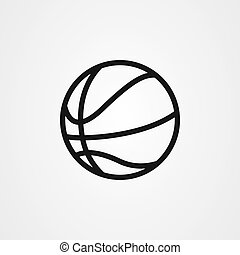 vecteur, icône, basket-ball, contour, conception, style