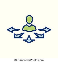 vecteur, icône, choix, manière, ou, signe, directionnel, dépeindre, flèche, prise décision