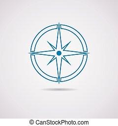 vecteur, icône, compas