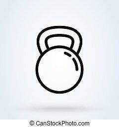 vecteur, icône, conception, simple, kettlebell, ligne, illustration., moderne