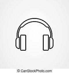 vecteur, icône, contour, style, écouteurs