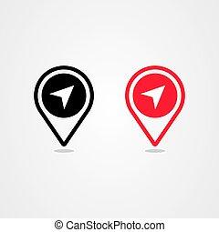 vecteur, icône, emplacement, épingle, conception