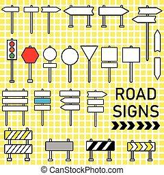 vecteur, icône, ensemble, panneaux signalisations