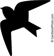 vecteur, icône, hirondelle, oiseau